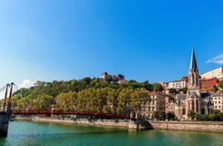 Eglise Saint Georges and the river Saone Royalty Free Stock Images