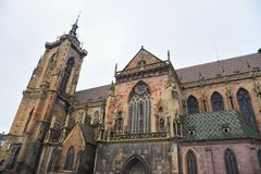 Eglise St-Martin Church in Colmar town, Alsace, France, Europe Stock Images
