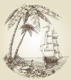 Żeglowanie łódź na morzu ilustracja wektor