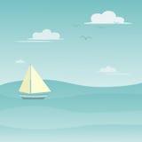 Żeglowanie łódź na morzu z niebieskim niebem i chmurami Ilustracyjnymi Fotografia Royalty Free
