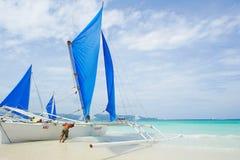 Żeglowanie łódź w Boracay wyspie Obraz Royalty Free