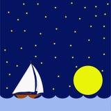 Żeglowanie łódź w nocy, ogromna księżyc ilustracji