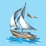 Żeglowanie łódź z flaga ilustracja wektor