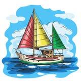 Żeglowanie łodzi barwiący wektorowy nakreślenie z chmurami ilustracja wektor