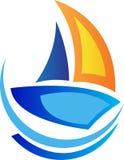 Żeglowanie łodzi logo ilustracji