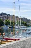 Żeglowanie łodzie cumowali Harnosand obrazy royalty free