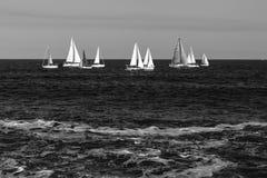 Żeglowanie łodzie w falistym morzu, czarny i biały Obraz Royalty Free