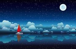 Żeglowanie łódź w nocnym niebie i morzu Obraz Stock