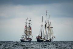Żeglowanie statki na morzu bałtyckim w Warnemuende Zdjęcia Stock