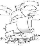 Żeglowanie statku kolorystyki strona ilustracja wektor