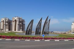 Żegluje kwadrat w Ashdod Izrael symbol miasto Zdjęcie Royalty Free