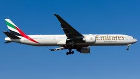 A6-EGM Emirates, Boeing 777-300ER. A6-EGM is on final approach runway 06 at Istanbul Sabiha Gokcen Airport LTFJ, December 31, 2018 stock image