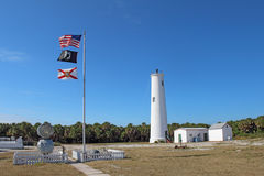 Egmont关键灯塔和标志在坦帕湾,佛罗里达 免版税库存照片