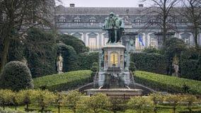 Egmont和Hoorne雕象在布鲁塞尔 库存图片