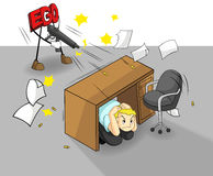 Ego can destroy your work and success (vector). An ego is shooting at a office guy. It can destroy your work and success. (vector Royalty Free Stock Photography