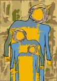 ego Das Plakat ist ein groteskes Bild eines Mannes auf Schmutz backgroun Stockfotografie