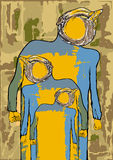 ego El cartel es una imagen grotesca de un hombre en backgroun del grunge Fotografía de archivo