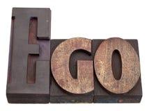 Ego - parola nel tipo dello scritto tipografico fotografie stock