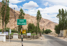 Ego village sign in Ladakh, India Stock Photos