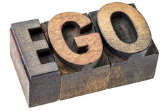 Ego word in letterpress wood type blocks Royalty Free Stock Photos