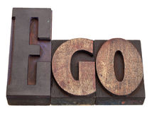 Ego - Wort im Hhhochhdrucktypen Stockfotos