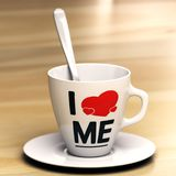 Egocentricity or Navel-Gazing Concept. Mug with the phrase i love me on wooden table. Concept of egocentric or self-centredness person. 3D illustration Royalty Free Stock Images