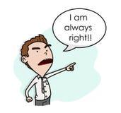 Egoist, Arrogant, and Stubborn Boss. A hand drawn vector cartoon illustration of a boss with bad attitude Stock Image