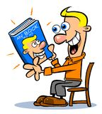 Egoist cartoon. Cartoon caricature of man admiring book about himself Stock Images