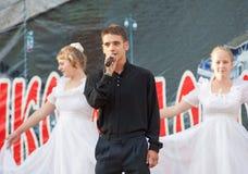 Egor Belov sing a song Stock Image