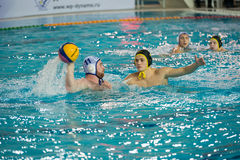 Egor Emelyanov 2. MOSCOW - NOVEMBER 18, 2016: Egor Emelyanov 2 in action at a Russia national championship water-polo game between Dynamo-Moscow white vs STORM Stock Images