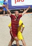 Egor SHAYKOV of Russia. KYIV, UKRAINE - May 28, 2011: Egor SHAYKOV of Russia reacts after he scores against Ukraine during their friendly beach soccer game on Royalty Free Stock Photography