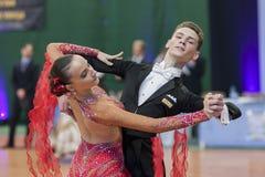Egorov Vladislav and Chaplinskaya Tatiana Performs Juvenile-1 Standard European Program Royalty Free Stock Images