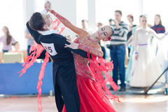 Egorov Vladislav e programma di norma di Chaplinskaya Tatiana Perform Youth-2 Fotografie Stock Libere da Diritti