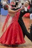 Egorov Vladislav en Chaplinskaya Tatiana Performs jeugd-1 Standaard Europees Programma over Nationaal Kampioenschap Royalty-vrije Stock Afbeelding