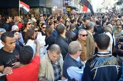 Egípcios que demonstram contra o presidente Morsi Imagem de Stock