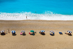 Egremni Beach. The most beautiful beach in Lefkada, Greece royalty free stock images