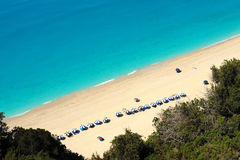 Egremni beach at Lefkada, Greece. Aerial view of Egremni beach at Lefkada, Greece Stock Photos