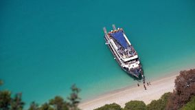 Egremni Beach in Lefkada, Greece, Cruise Sailing Trip, People in Boat, Ship 4K stock footage