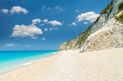 Egremni beach, Lefkada island, Greece. Large and long beach with turquoise water on the island of Lefkada in Greece stock photo
