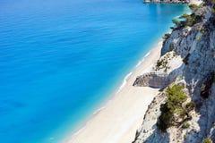 Egremni biały plaża (Lefkada Grecja,) Obraz Royalty Free