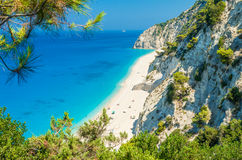 Egremni plaża, Lefkada wyspa, Grecja Obrazy Royalty Free