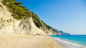 Egremni plaża, Lefkada wyspa, Ionion morze, Grecja Zdjęcia Royalty Free