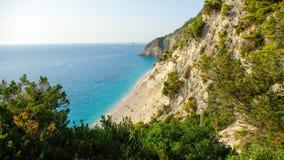 Egremni plaża, Lefkada wyspa, Ionion morze, Grecja Fotografia Stock