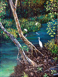Egret in the forest of oil painting Royalty Free Stock Images