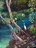 Egret na floresta da pintura a óleo imagens de stock royalty free