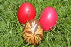 Egs coloridos en hierba Foto de archivo