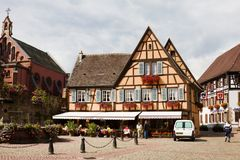 A beautiful half-timbered house in Eguisheim village. Eguisheim is a commune in Alsace in France. Since 2003 Eguisheim is included into the list of the most royalty free stock image