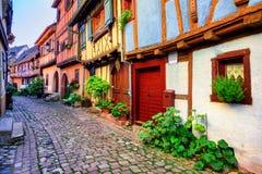 Eguisheim, de Elzas, Frankrijk Stock Foto's
