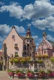 Eguisheim fountain and church