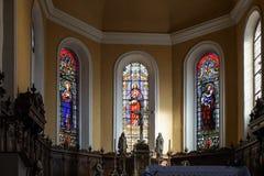 EGUISHEIM, FRANCIA EUROPA - 23 DE SEPTIEMBRE: Vista interior de St Le Fotos de archivo
